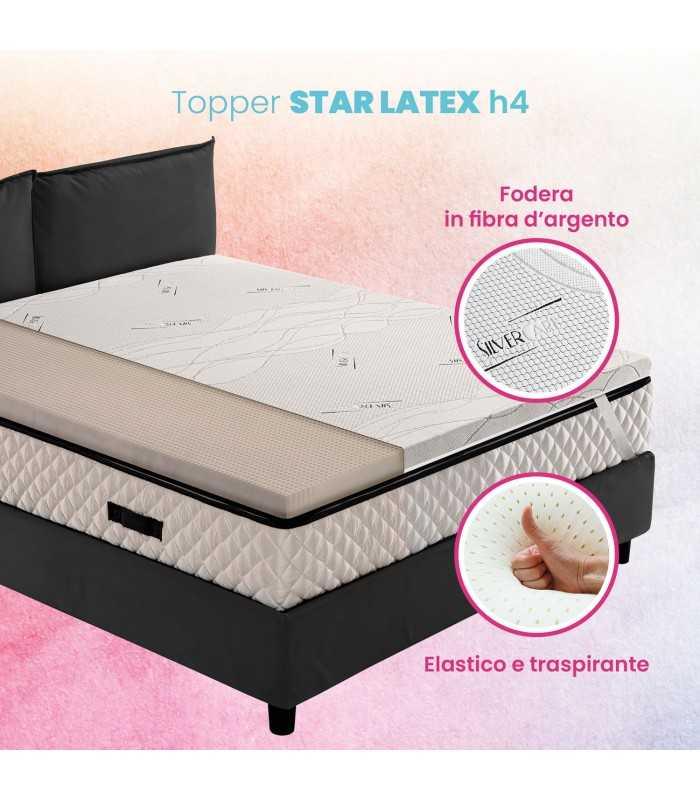 Topper 100% LATTICE, correttore per materasso H4 cm con tessuto antimicrobico e sfoderabile – STAR LATEX
